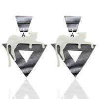 Fashion Women Cat Striped Acrylic Long Drop Dangle Earrings Jewelry Gift