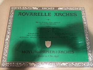 "Aquarelle Arches 20 Sheets Cold Pressed 140 lb 12"" x 16"" Watercolor Block Paper"