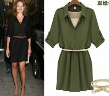 Polyester Collared Long Sleeve Tunic Dresses for Women