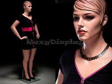 Plus Size Female Fiberglass Mannequin with Molded Hair Dress form #MZ-AVIS2