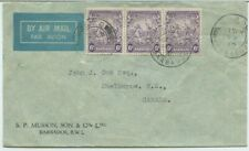 3 x 6d BARBADOS air mail to Canada 1940 to Shelburne NS Canada