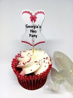 Personalised Corset Lingerie Burlesque Hen party cupcake toppers 12 pcs