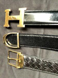 Lot 3 Luxury Vintage 80s Belts Italian Leather Bottega Venetta and Gold H Buckle