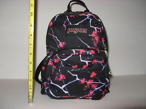 Jansport Half Pint Mini Small Backpack Sakura Delight Black Cherry Blossom Print
