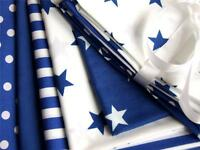 BLUE royal STAR SPOT STRIPE stars spotty pure COTTON FABRIC dress craft bunting