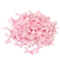 100pcs Pink Satin Ribbon Bows Sewing Wedding Decor Appliques For DIY Scrapb New