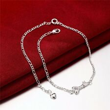 925 Sterling Silver Heart Key Arrow Chain Crystal Cubic Zircon Anklet Bracelet