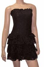 Victoria's Secet Black Strapless Dress Tiered Ruffle Lace Short Mini S New