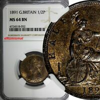 GREAT BRITAIN Victoria (1837-1901) Bronze 1891 1/2 Penny NGC MS64 BN KM# 754