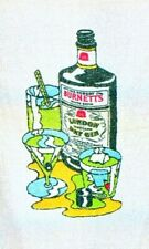 Vintage :Sir Robert Burnett's White Satin Gin Pub Home Beach Towel 1960s/1970s