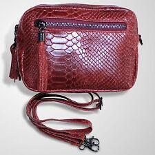Leder Damen Handtasche Schultertasche Umhänge Tasche Prägung Rot