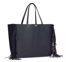 NWT Victoria's Secret Black Fringe Handbag Faux Leather Large Weekender Tote Bag