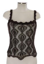 Christian Dior Top 36 (D) Marron Crochet Dentelle angora trägertop Peau