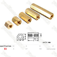 100 Brass M3 Hexagonal Screw Nut Female Pillar PCB Board Standoff Spacer 4-20mm