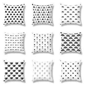 Black Pattern Printed Cushion Cover Pillow Cover Geometric Square Pillowcase