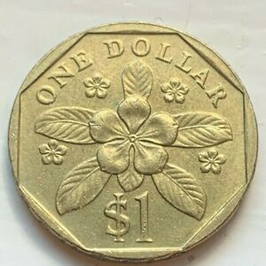Singapore 1995 One 1 Dollar Circulated Coin (#C41) Periwinkle Flower