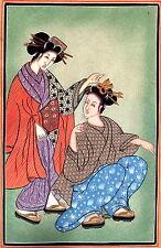 Japan India Art Handmade Indo Japanese Miniature Ethnic Folk Portrait Painting