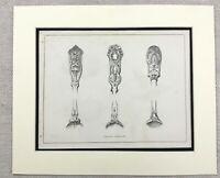 1859 Print Victorian Cutlery Flatware Silverware Spoons Original Antique