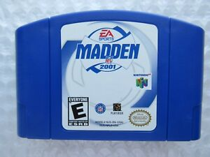GREAT SHAPE - Madden NFL 2001 Nintendo 64 N64 Authentic Blue Game Cart Tested