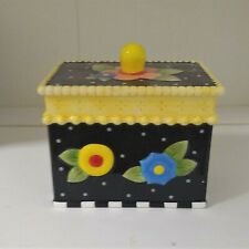 Mary Engelbreit Small Canister Black with Colorful Fried Eggs & Polka Dots
