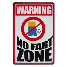 Metal Tin Sign warning no fart zone Decor Bar Pub Home Vintage Retro Poster