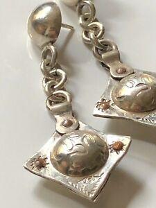 Vintage 'JDI' sterling silver '925' droplet earrings 7.93g statement geometric