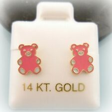 14K Solid Yellow Gold PINK BABY TEDDY BEAR Screwback Girl Earrings