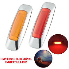 2Pcs Universal Truck Trailer Side 8 LED Signal Lamp Marker Indicator Brake Light