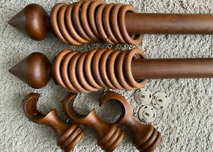 Solid Wood Curtain Pole 3m long 5cm dia Finials +3 Brackets & 20 rings *2 Avail.