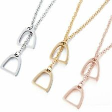 Stainless Steel Double Horse Stirrups Pendant Equestrian Gold Silver Necklace