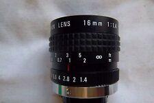 Cosmicar tv lens 16mm 1:1.4