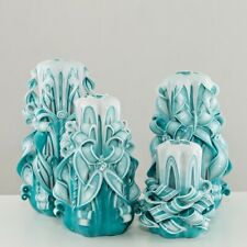 Hand Carved Candles Blue Different Sizes 11-20 CM Colorful Home Decoration
