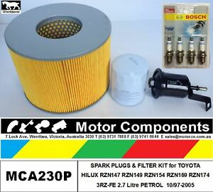 PLUGS & FILTER KIT for TOYOTA HILUX RZN147 1RZ-FE 1997>2002