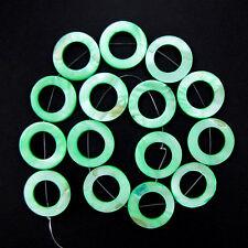 """25mm apple green shell donut beads 16"""" strand"""