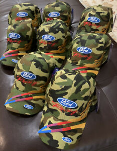 Ford Racing Vintage Camo NASCAR Caps Lot Of 8