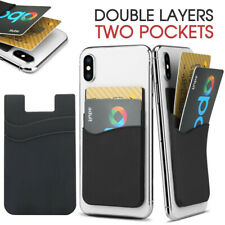 Double Layers Silicone Mobile Phone Back Card Holder Wallet 3M Stick On Adhesive