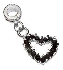 Black Rhinestone Heart Love Dangle Charm for Silver European Slide Bracelets
