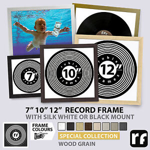 """Record Album Frame 7"""" 10"""" 12"""" inch Natural Wood Cream Grey Putty Picture FRAMES"""