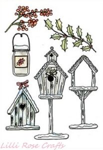 Clear Rubber Stamps - Birdhouses - 1222 -  Cardmaking - Christmas - NEW