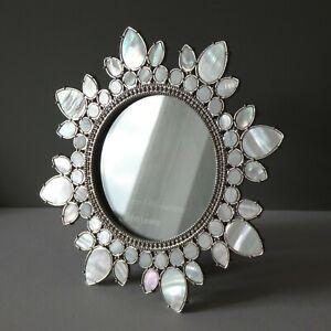 Boho Mother of Pearl Shell Easel Back Freestanding Photo Frame Mandala Round