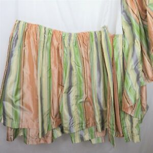"""Pine Cone Hill Silk Striped Double Queen Bed Skirt 18"""" Drop Vintage Made in USA"""