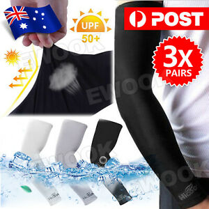 3 Pairs Cooling Sport Arm Sleeves Compression Protection Cover Tennis Basketball