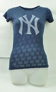 MLB New York Yankees Red Jacket Women XSmall See Through Navy Blue TShirt Tee