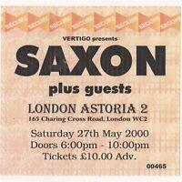 SAXON Large Concert Ticket Stub LONDON UK 5/27/00 ASTORIA 2 METALHEAD TOUR Rare