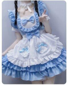 Womens  Lolita Maid Ruffled Costume Dress S-2XL