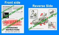Corgi Toys 270 James Bond Aston Martin DB5 Instruction Leaflet pamphlet 1968