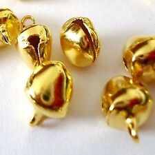 50 pieces 8mm Gold Plated Metal Jingle Bells - A0053