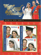 Antigua & Barbuda 2011 MNH Royal Wedding 4v M/S I Prince William Kate Middleton