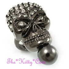 Dramatic Gothic Skull Skeleton Hematite Black Punk Ring w/ Swarovski Crystals