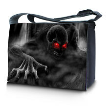 """17.3"""" 17"""" Laptop Notebook Padded Compartment Messenger Bag Zhombie Skull N20"""